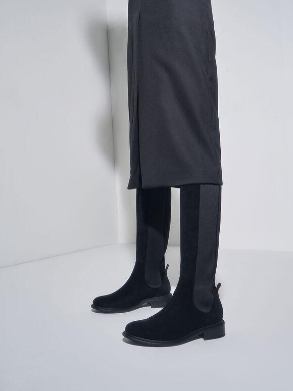 Knee High Chelsea Boots, Black Textured, hi-res
