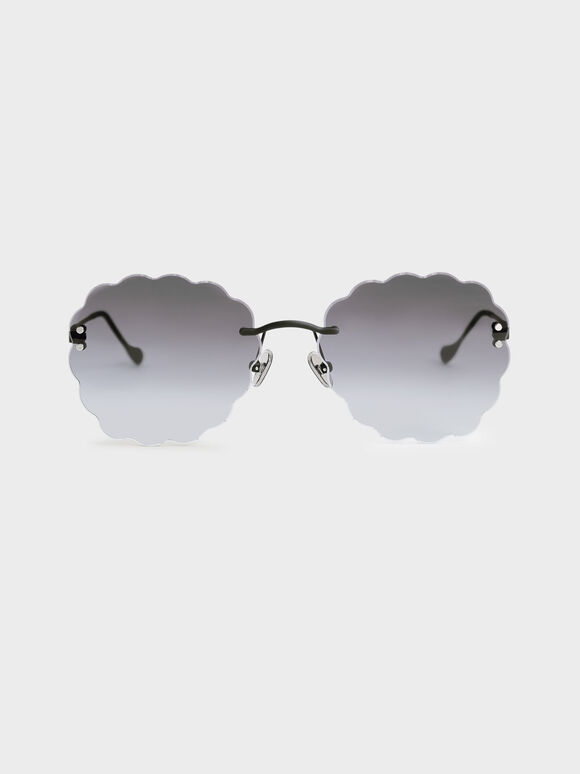 Scalloped Butterfly Sunglasses, Black, hi-res