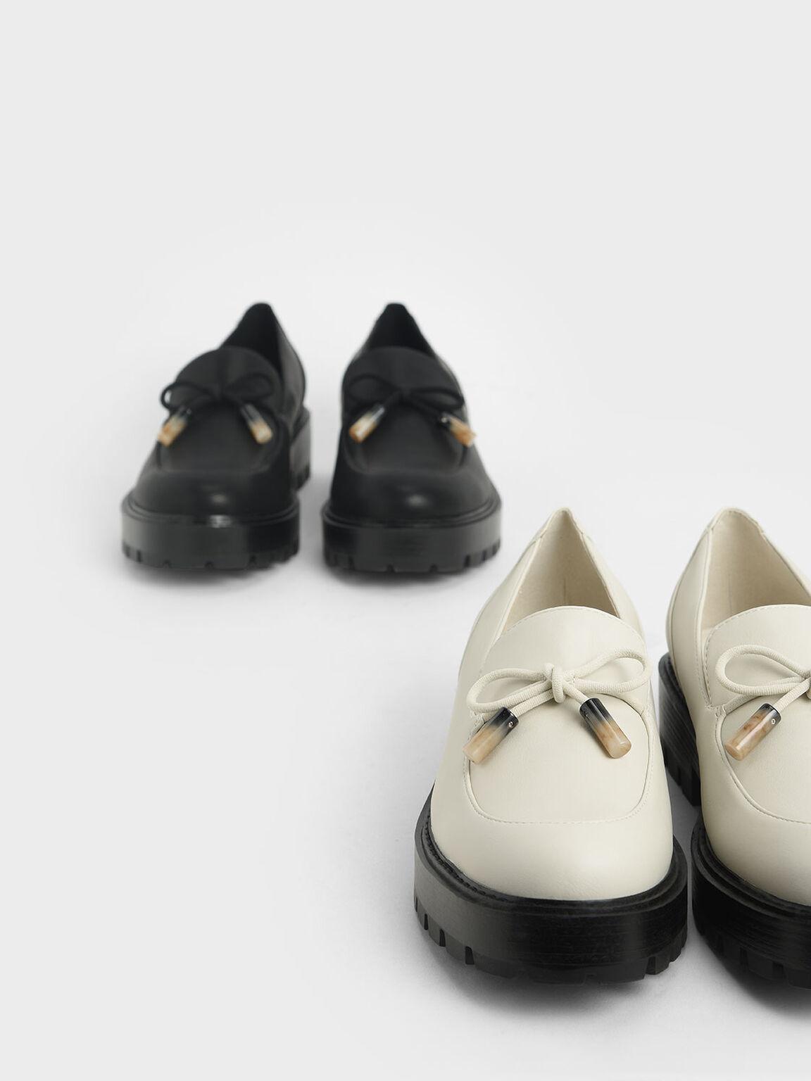 Embellished Bow Loafers, Chalk, hi-res