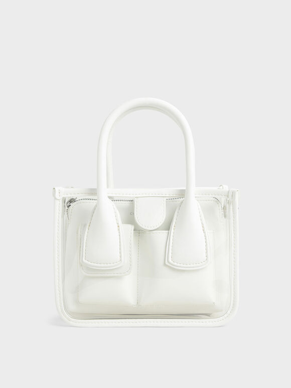 See-Through Effect Handbag, White, hi-res