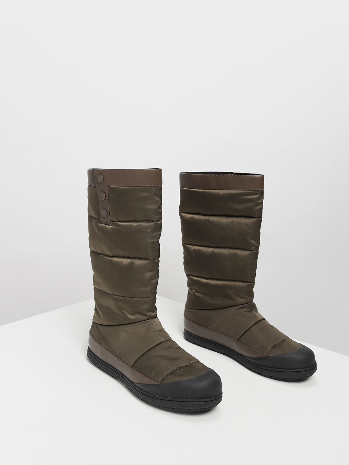 Puffed Calf Boots, Military Green, hi-res