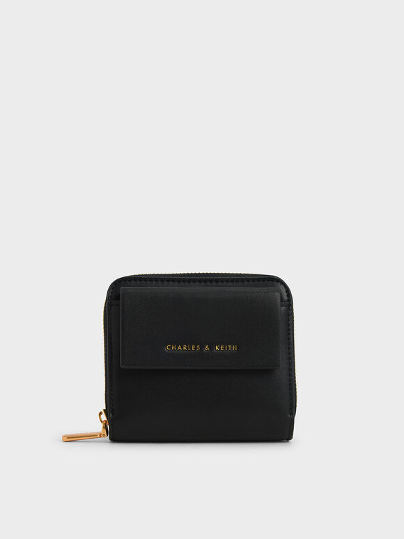 Front Flap Zip-Around Mini Wallet, Black, hi-res