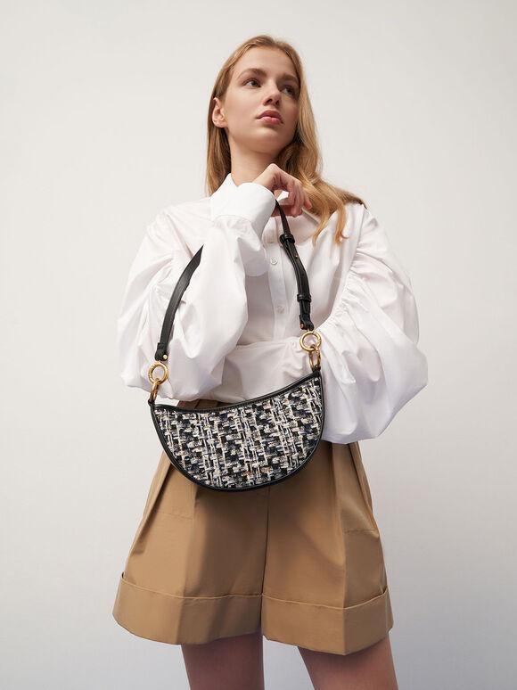 Tweed Crescent Crossbody Bag, Navy, hi-res