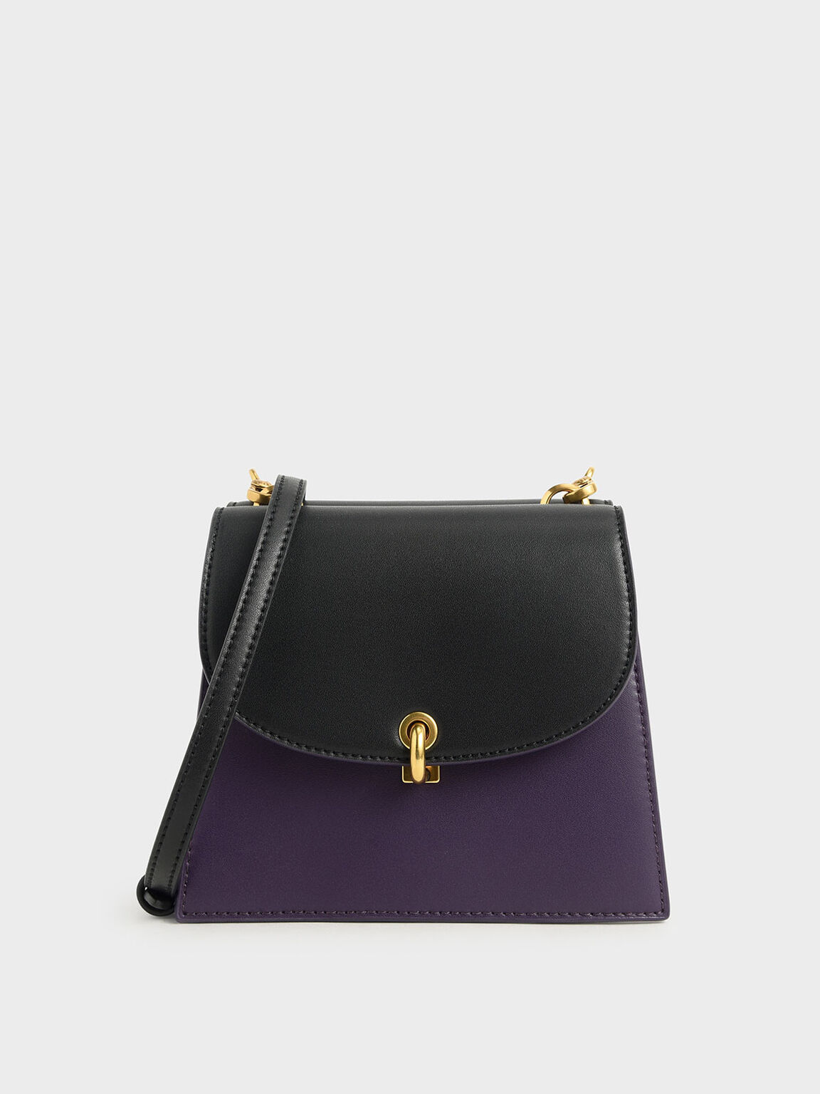 Two-Tone Mini Trapeze Crossbody Bag, Purple, hi-res