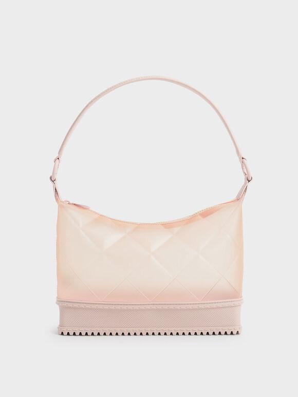 Graphic Handle Quilted Shoulder Bag, Light Pink, hi-res