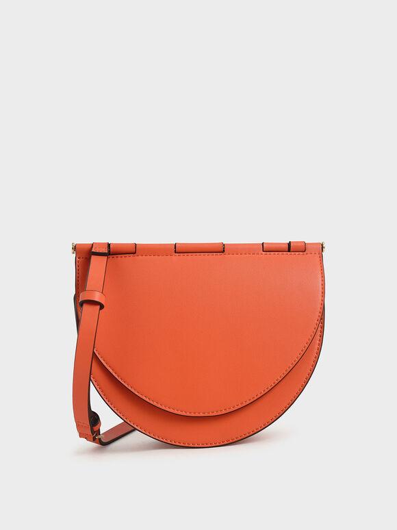 Semi-Circle Crossbody Bag, Orange, hi-res