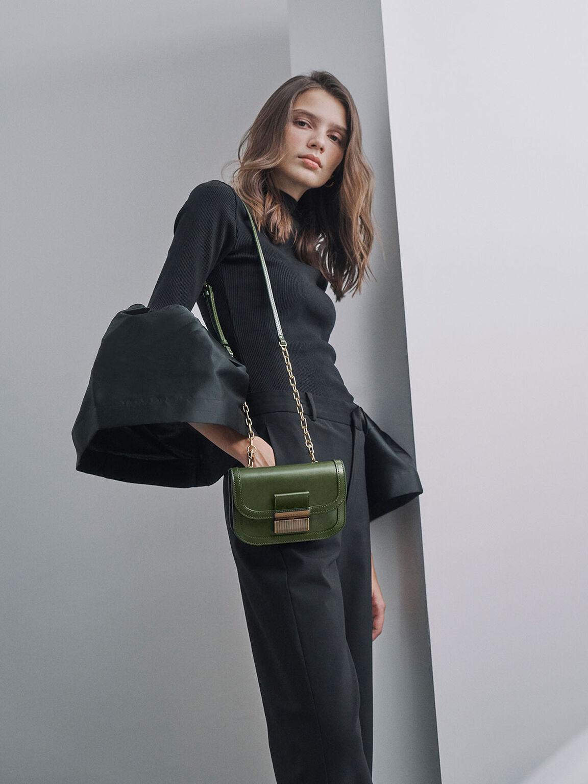 Metallic Push-Lock Front Flap Bag, Sage Green, hi-res