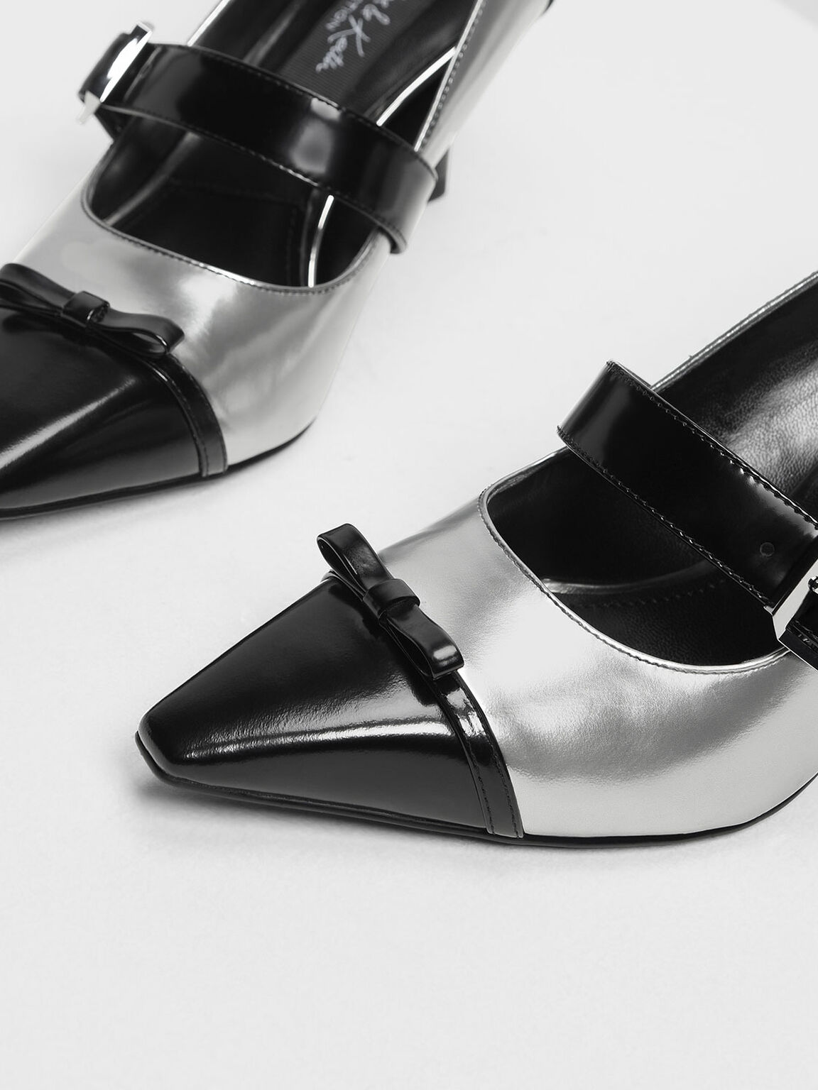 Leather Ribbon Detail Mary Jane Heels, Pewter, hi-res