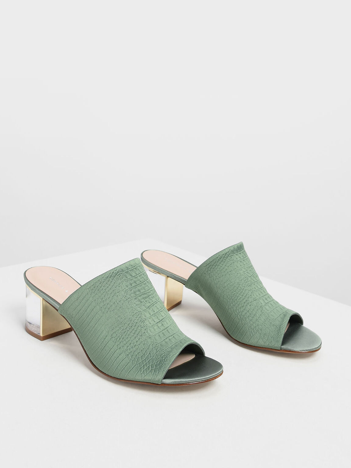 Embossed Fabric Heeled Slide Sandals, Green, hi-res