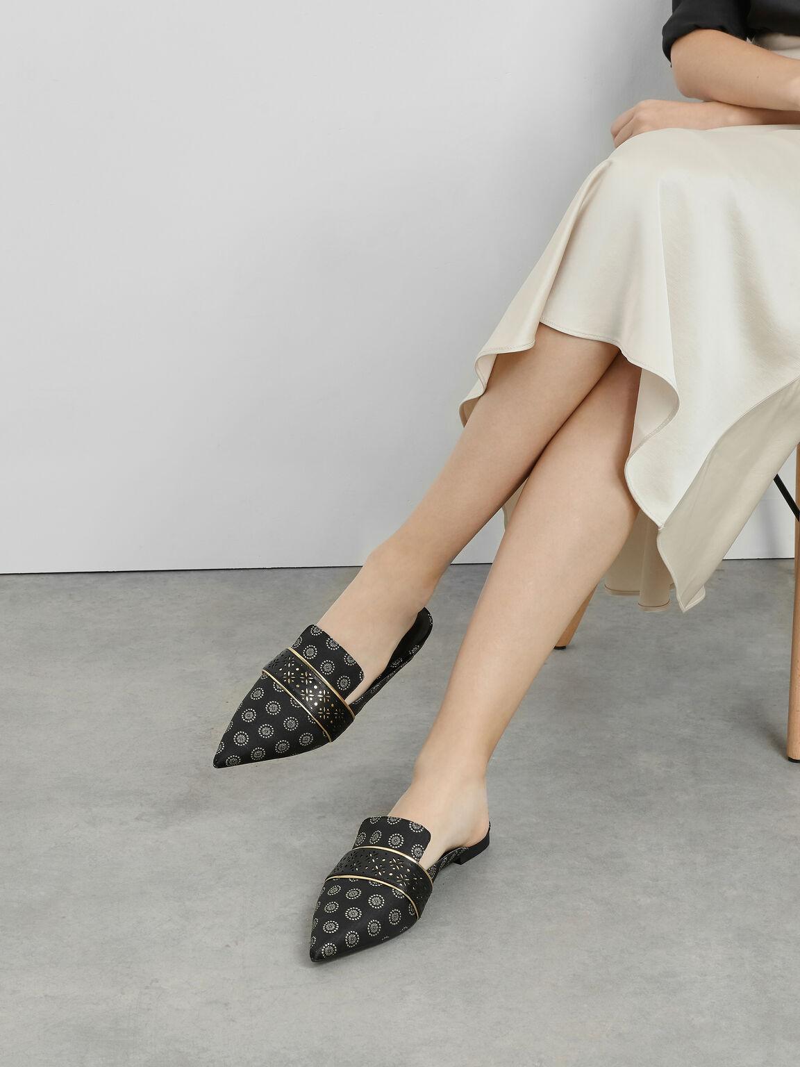 Motif Pointed Toe Mules, Black Textured, hi-res