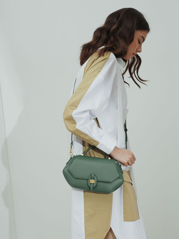 Top Handle Geometric Bag, Green, hi-res