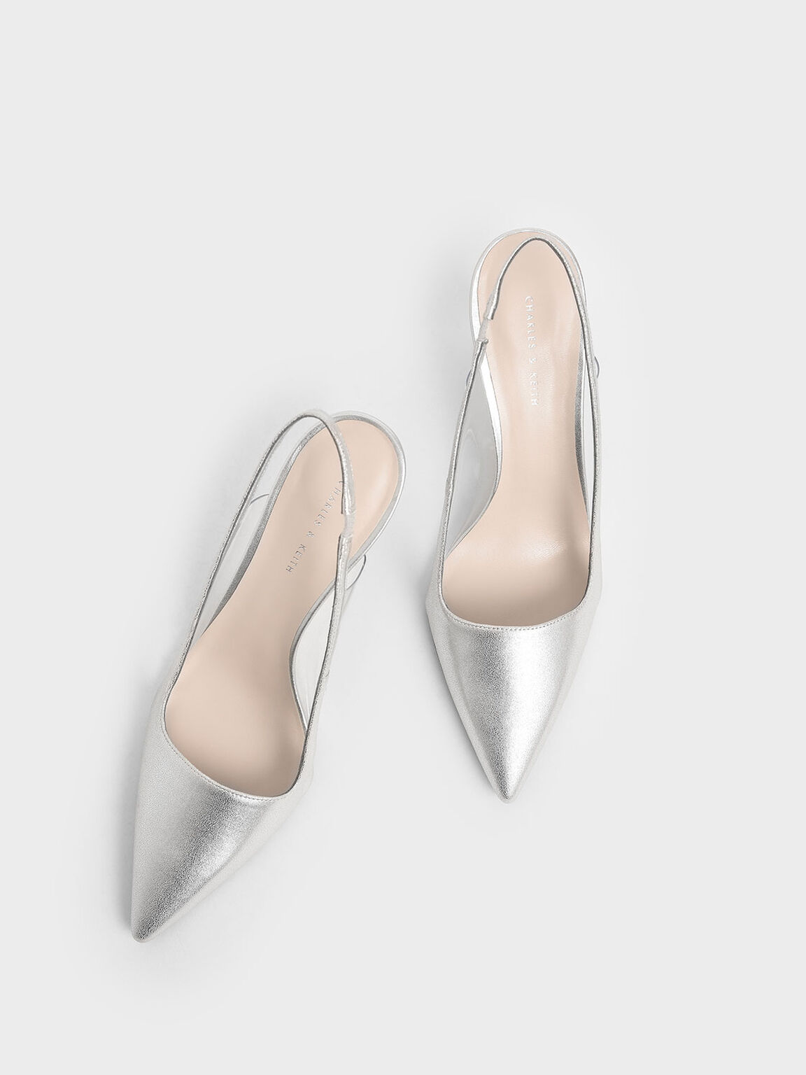 Metallic Slingback Pumps, Silver, hi-res