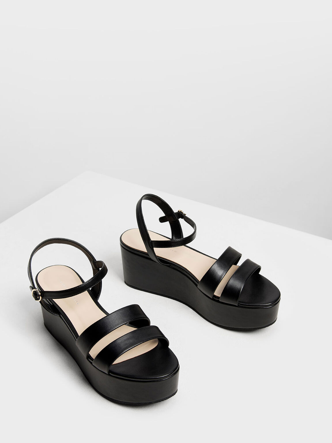 Double Strap Flatform Sandals, Black, hi-res