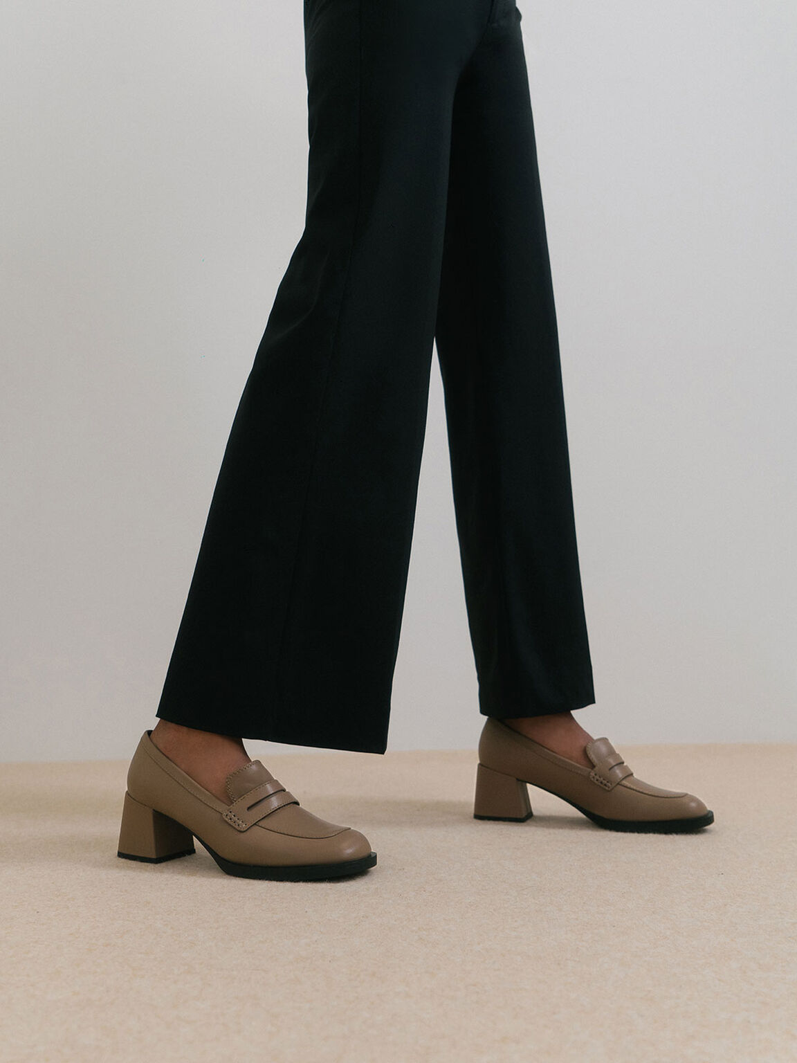 Penny Loafer Court Shoes, Brown, hi-res