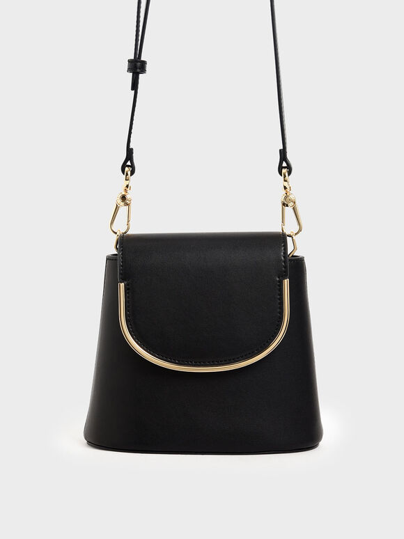 Metal Accent Leather Bucket Bag, Black, hi-res