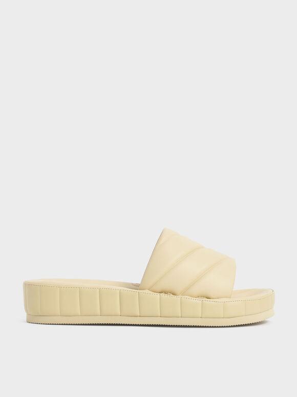 Puffy Flatform Slide Sandals, Yellow, hi-res