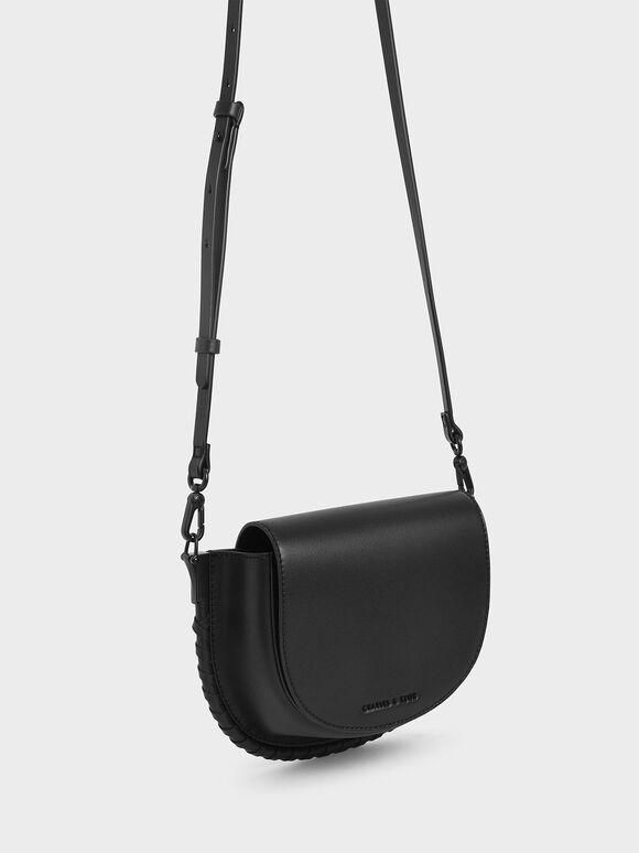 Stitch Trim Saddle Bag, Black, hi-res