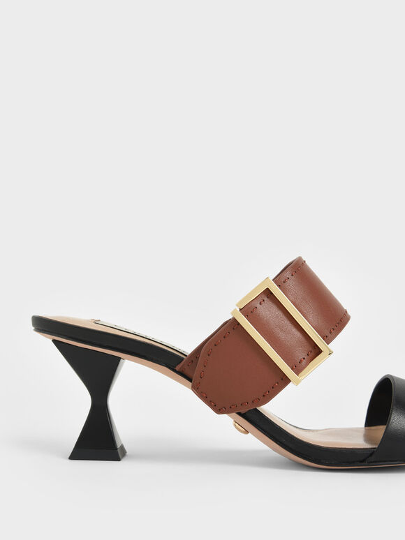 Leather Metallic Buckle Spool Heel Mules, Multi, hi-res