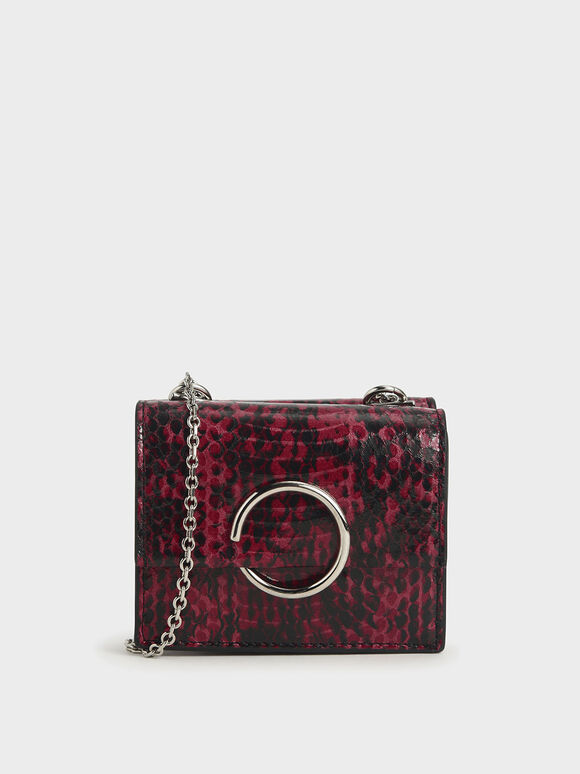 Snake Print Ring Detail Short Wallet, Berry, hi-res