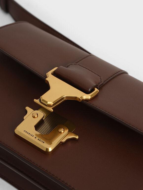 Metallic Push-Lock Shoulder Bag, Dark Brown, hi-res