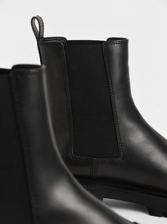 Chunky Sole Chelsea Boots, Black, hi-res