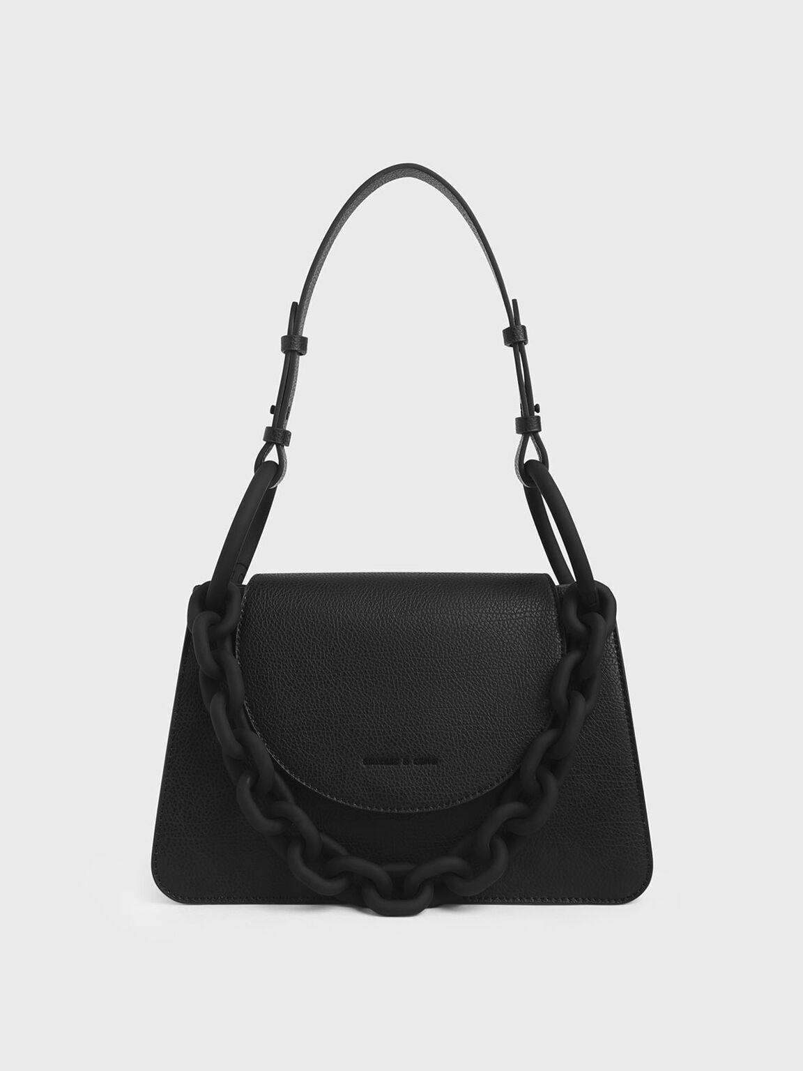 Chunky Chain Link Shoulder Bag, Black, hi-res