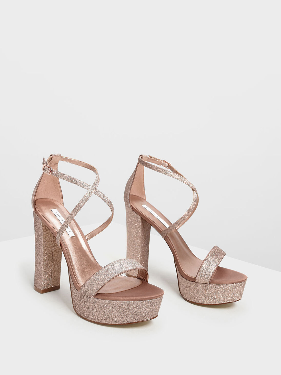 Chunky Glitter Platforms, Rose Gold, hi-res