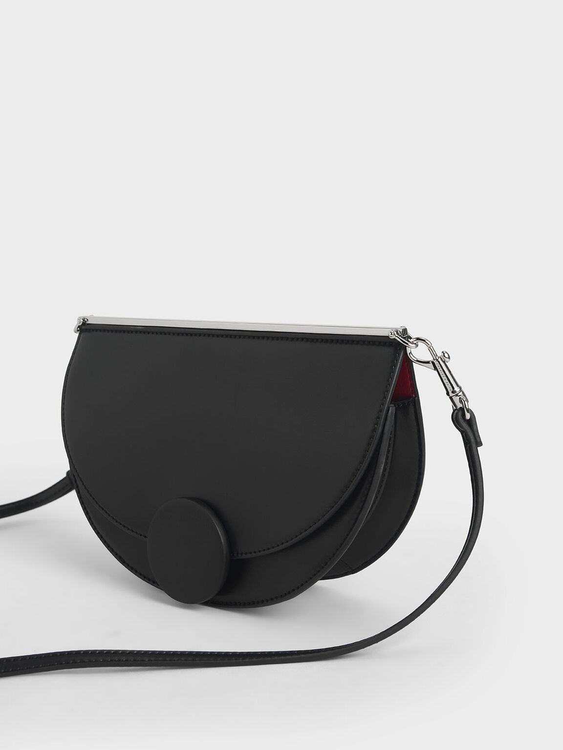 Half Moon Clutch, Black, hi-res