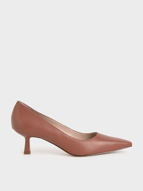 Kitten Heel Court Shoes, Cognac, hi-res