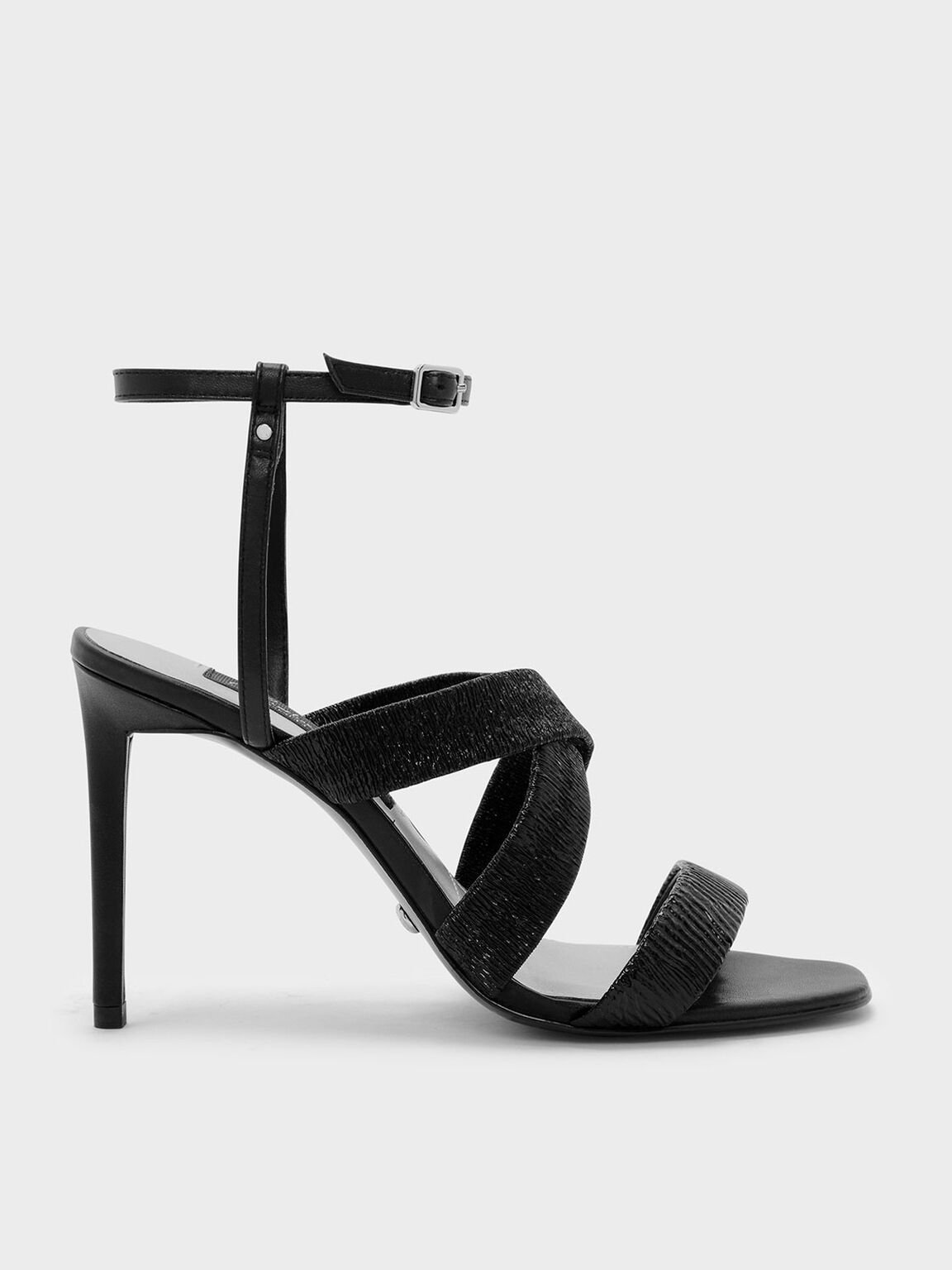 Ruched Detail Strappy Leather Sandals, Black, hi-res