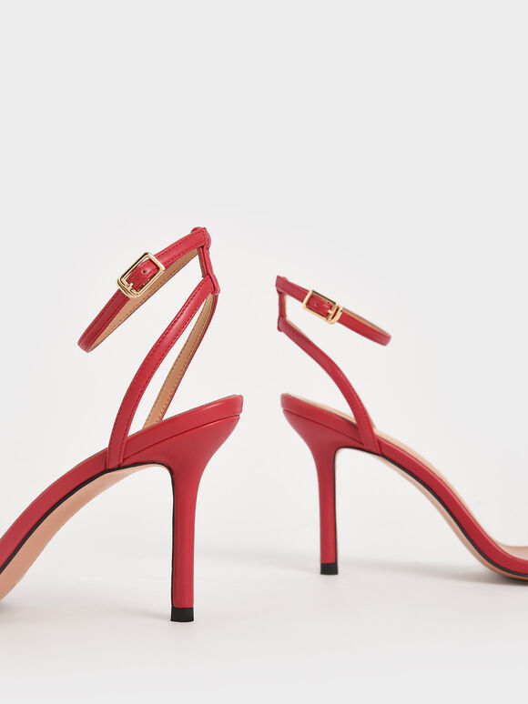 Bow Ankle Strap Sandals, Red, hi-res