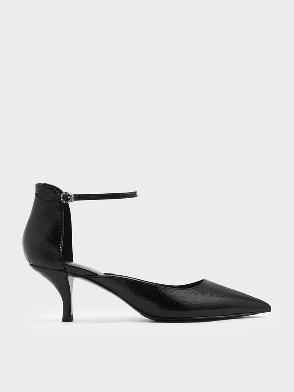 Wrinkled Patent Sculptural Kitten Heel Pumps, Black, hi-res
