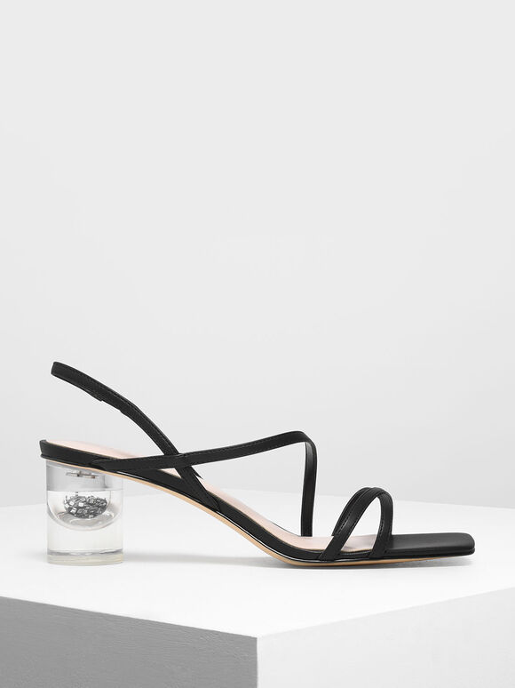 Asymmetric Strap Lucite Heel Sandals, Black, hi-res