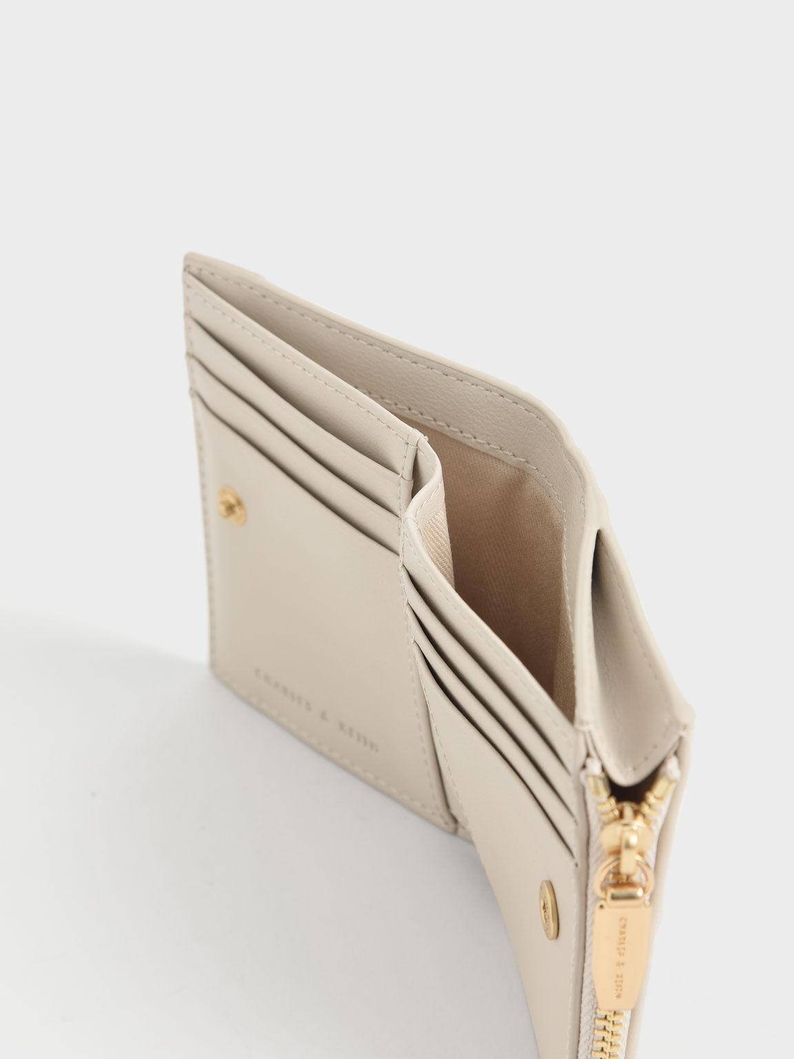 Ruched Short Wallet, Cream, hi-res
