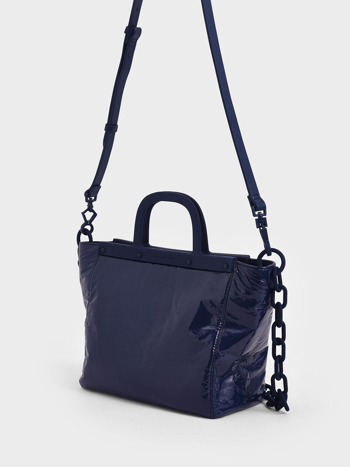 Large Patent Tote Bag, Dark Blue, hi-res
