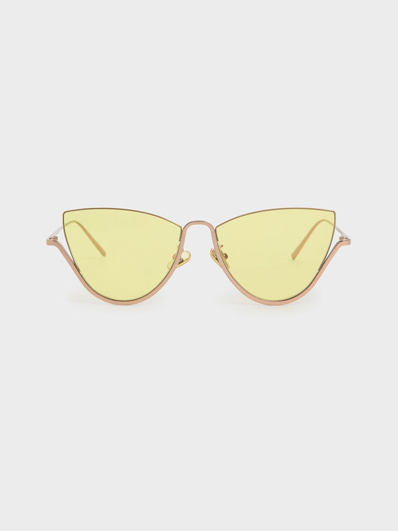 Half Frame Cat-Eye Sunglasses, Yellow, hi-res