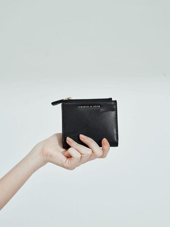 Top Zip Mini Wallet, Black, hi-res