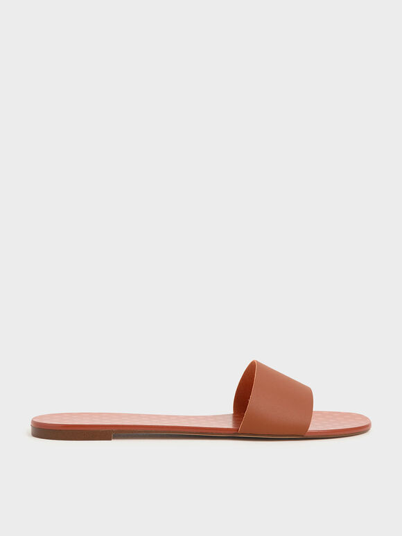 Dot Motif Slide Sandals, Tan, hi-res