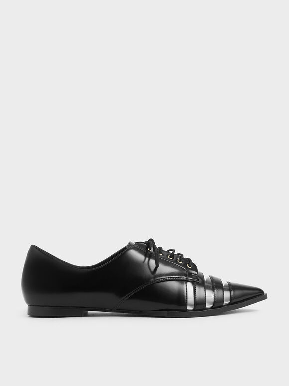 See-Through Oxford Shoes, Black, hi-res