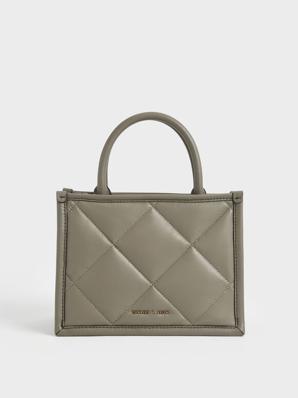 Quilted Double Handle Tote Bag, Taupe, hi-res