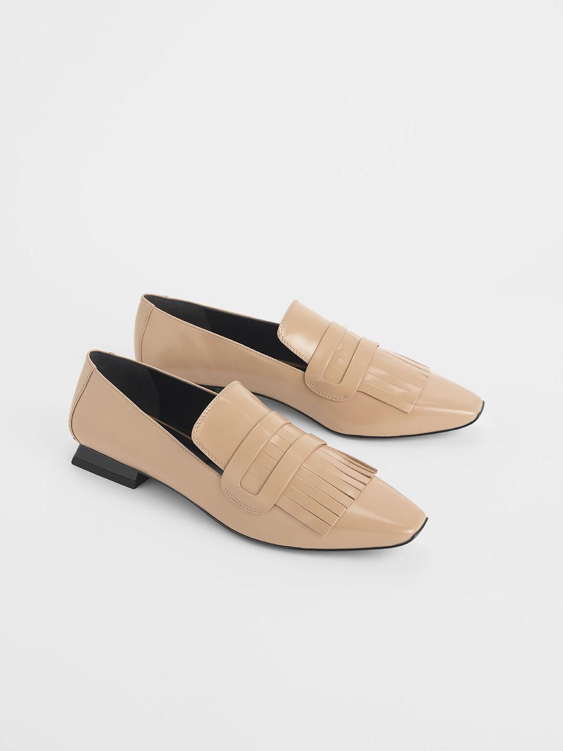 Fringed Leather Loafers, Beige, hi-res