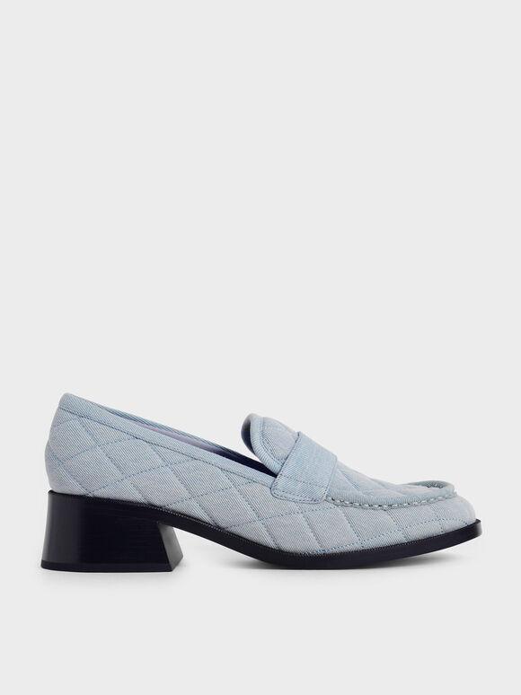 Block Heel Penny Loafers, Light Blue, hi-res