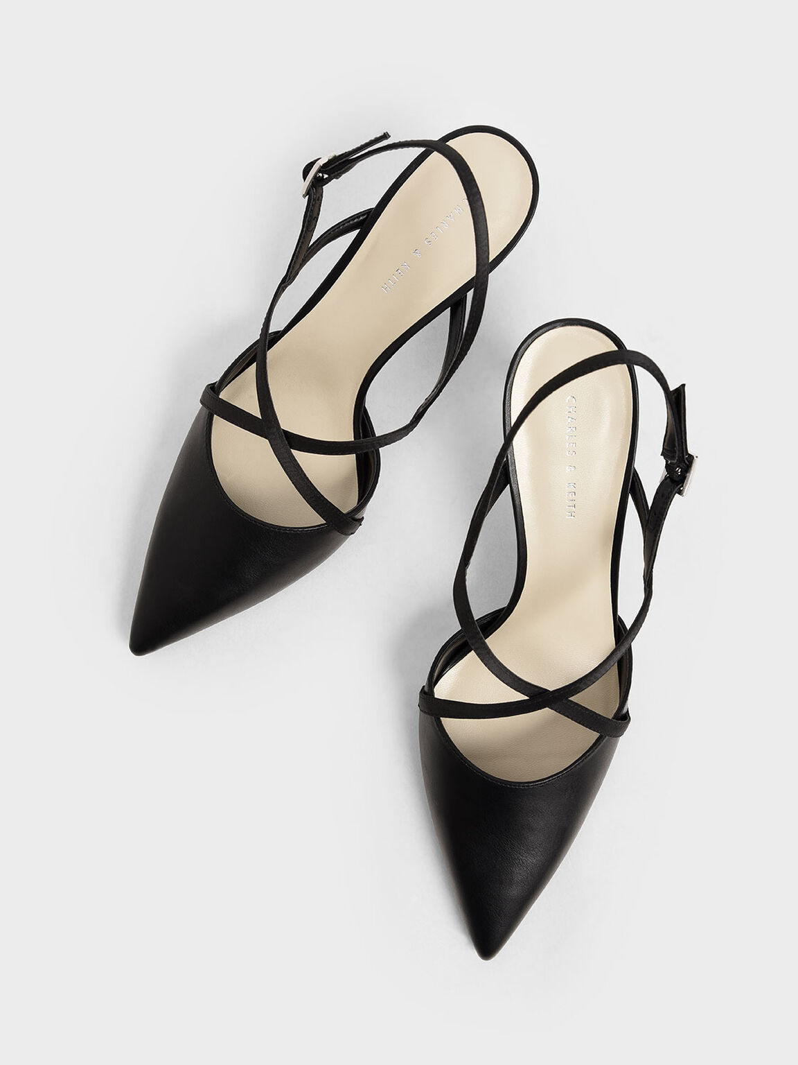 Satin Criss-Cross Strap Pumps, Black, hi-res