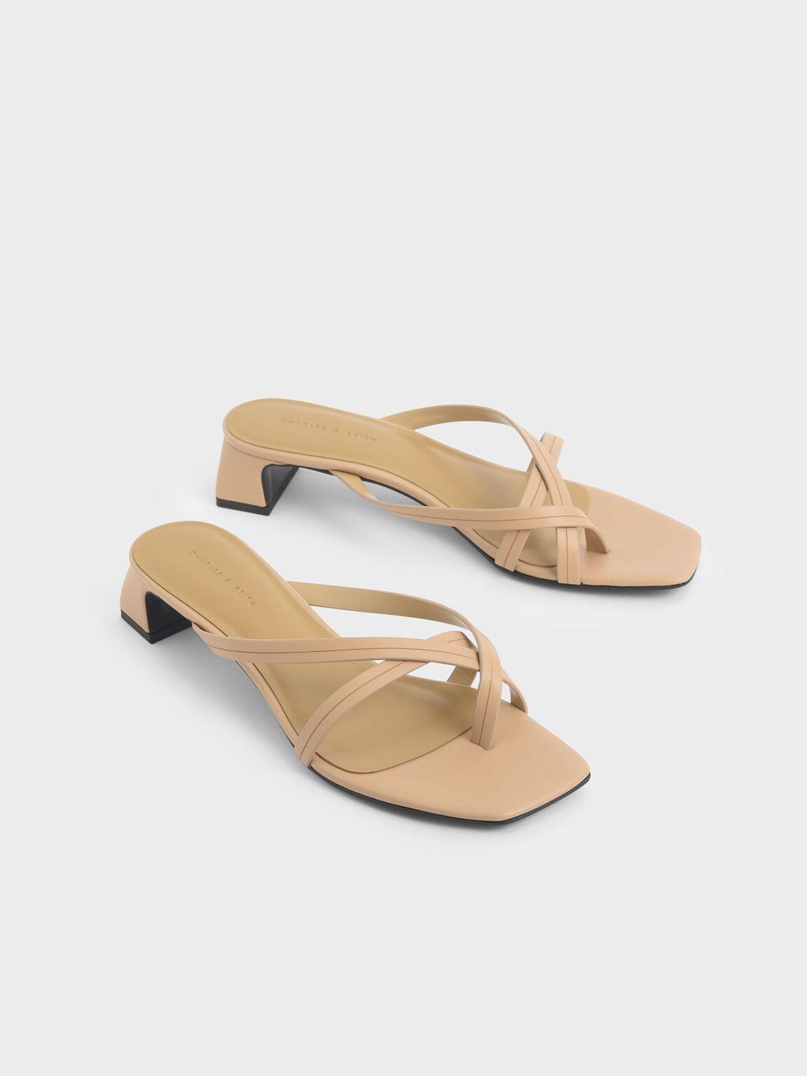 Strappy Toe Loop Heeled Sandals, Nude, hi-res
