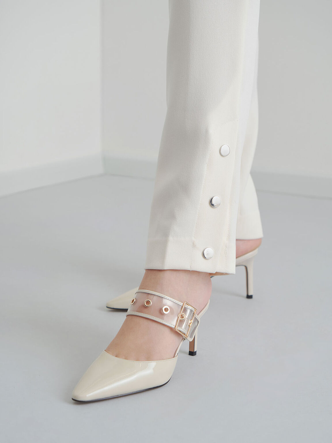 Patent Leather Eyelet-Embellished Mules, Chalk, hi-res