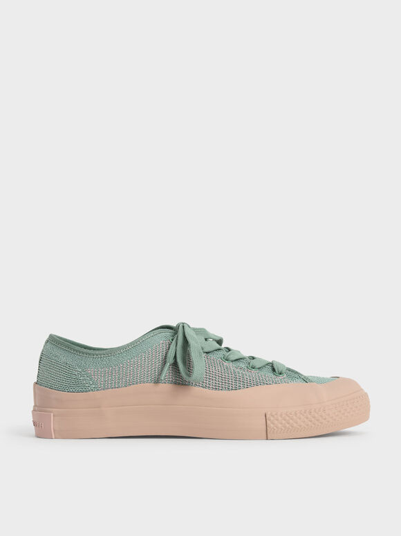 Knitted Low-Top Sneakers, Sage Green, hi-res