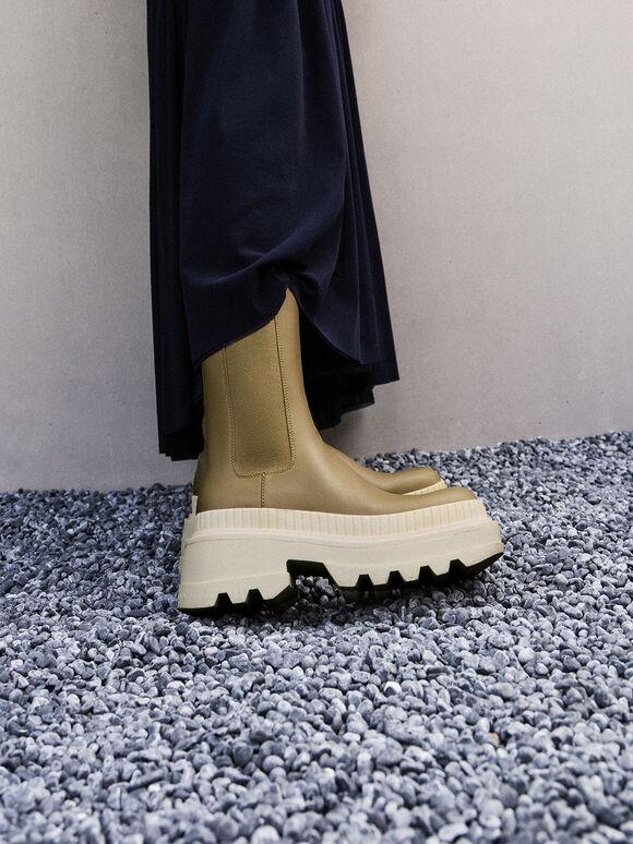Rhys Chelsea Calf Boots, Olive, hi-res