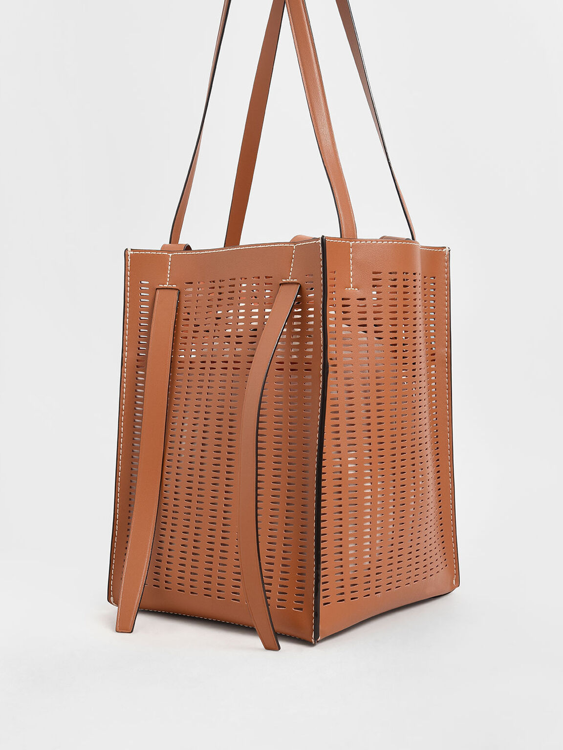 Large Laser-Cut Tote Bag, Cognac, hi-res
