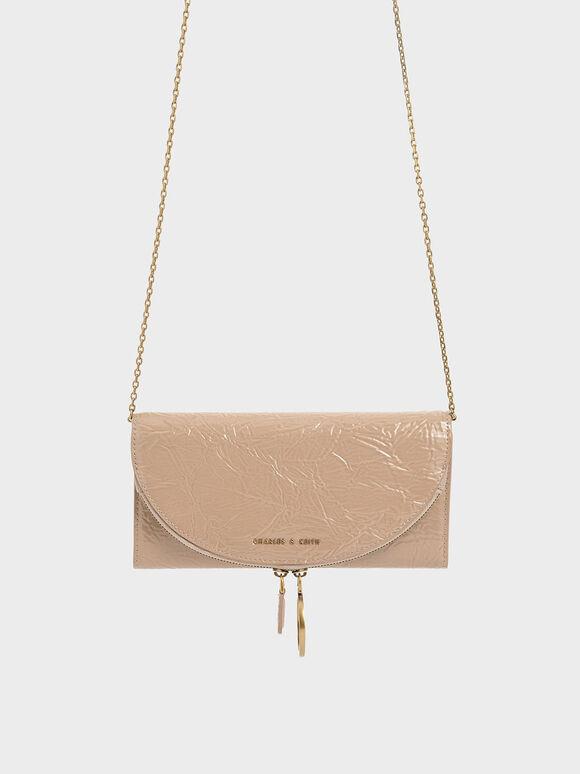 Wrinkled Patent Ring Zip Flap Long Wallet, Beige, hi-res