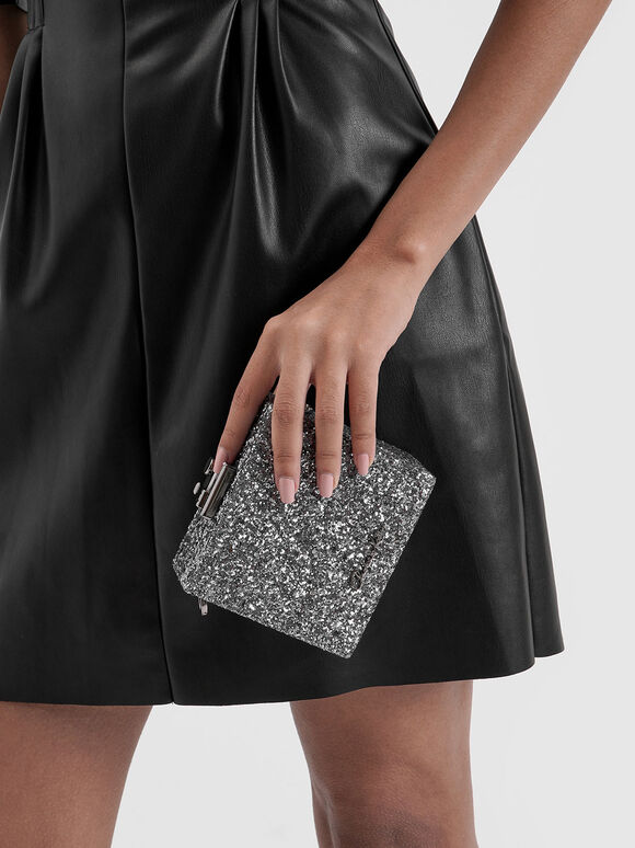 Glitter Square Clutch, Pewter, hi-res